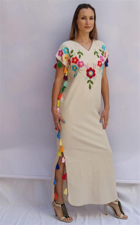 Kaftan Mayang Polos B multi floral tassels embroidered bohemian linen folk embroidery maxi kaftan dress boho hippie