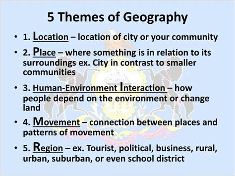 5 themes of geography virginia ppt name location climate landforms and regions of