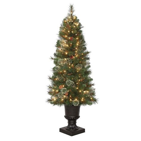 4 5 Ft Pre Lit Led Alexander Pine Artificial Christmas Lighted Trees Artificial
