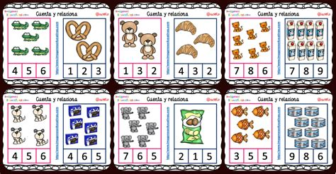 imagenes educativas cuenta y relaciona fichas para aprender a contar con dibujos de animales y