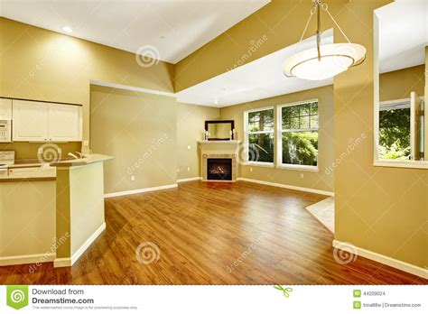 empty apartment with open floor plan living room with fireplac stock photo image 44209024