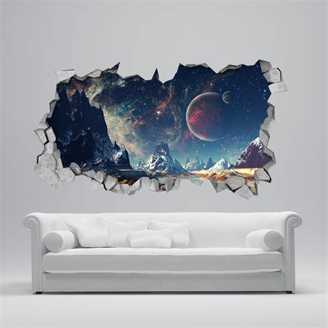 wall sticker wallpaper space broken wall decal 3d wallpaper 3d wall decals 3d