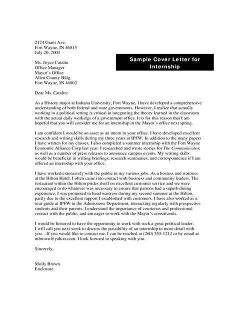 cover letter exles for museum internships internship cover letter exles 9 free templates in pdf