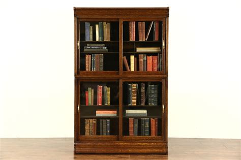 antique bookcases with glass doors sold danner signed stacking oak 1900 antique bookcase