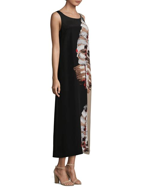 Lafayete Maxi lyst lafayette 148 new york palmer leaf print silk maxi dress in black