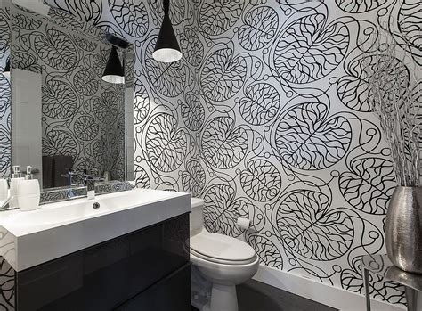 contemporary wallpaper for bathrooms always on trend 20 powder rooms in black and white