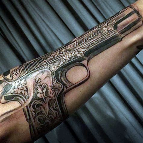 80 pistol tattoos for men manly sidearm designs