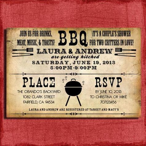 bbq themed wedding shower invitations printable rustic bbq couples wedding shower 4x6 or 5x7
