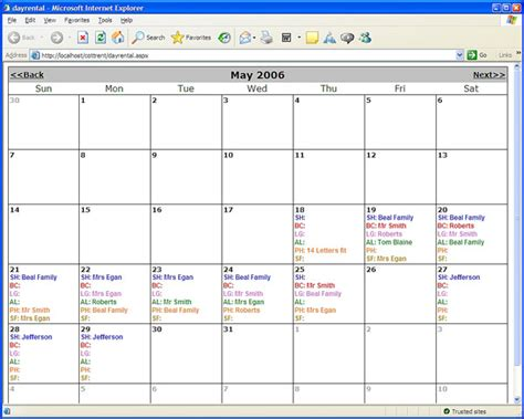 Web Calendar Web Based Day Rental Calendar Codeproject