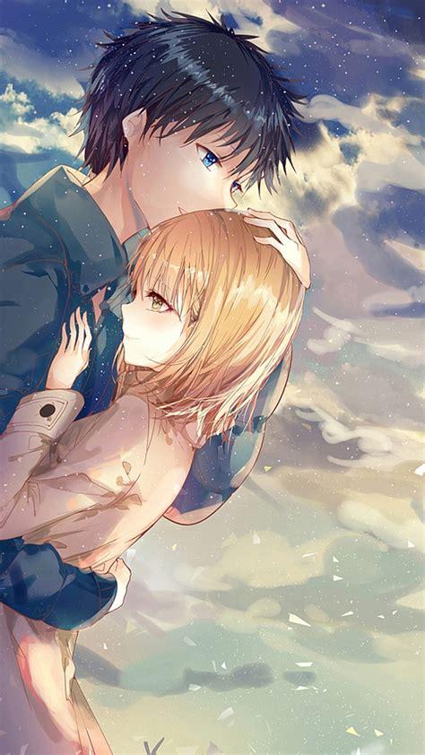 anime couple hug romance clouds