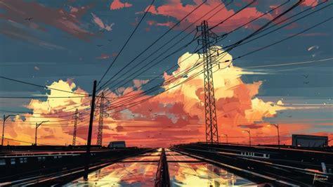 wallpaper anime landscape sunset sky painting scenic