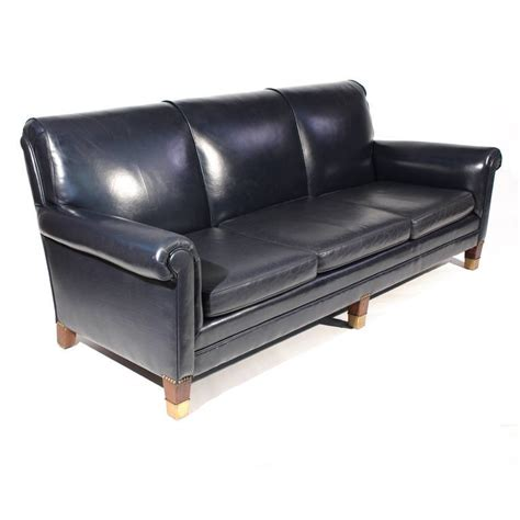 leather sofa blue classic navy blue leather sofa at 1stdibs