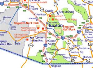 map of tuscon arizona city of rocks map of arizona