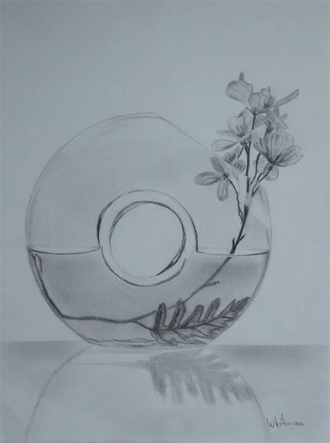 Pencil Drawing Flower Vase by Glass Vase With Flowers Still Sketch Original Graphite Pencil Drawing By