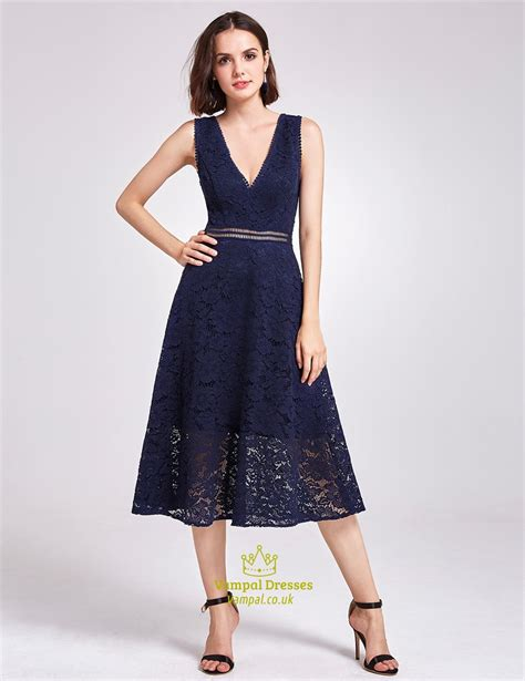 Sleeveless Lace Cocktail Dress tea length navy blue sleeveless v neck a line lace