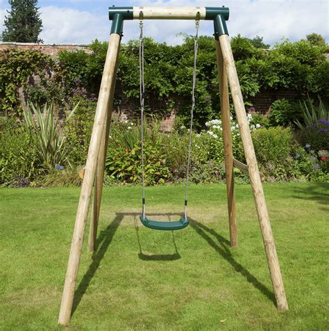 swinging on a swing set rebo solar wooden garden swing set outdoor toys