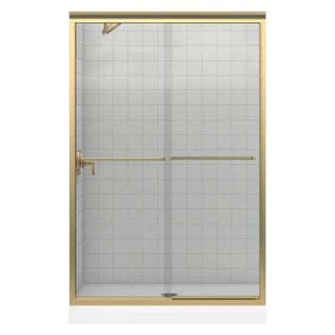 Frameless Glass Shower Doors Home Depot Kohler Fluence 48 In X 70 5 16 In Frameless Bypass Shower Door In Bright Brass With Clear