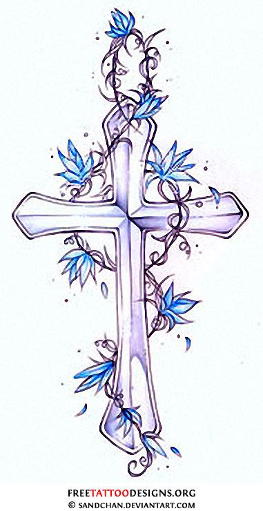 cross with flowers tattoo cross flower black and white design for your