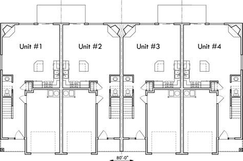 4 Plex Building Plans, 4 Bedroom House Plans, Row House Plans