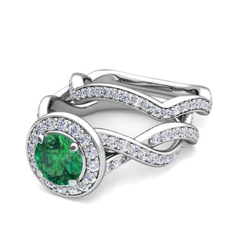 18k gold bridal set infinity emerald engagement
