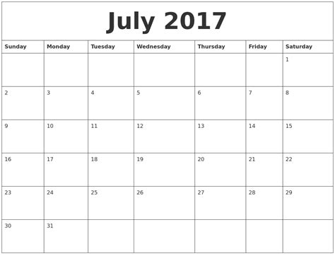 printable calendar cute 2017 july 2017 cute printable calendar