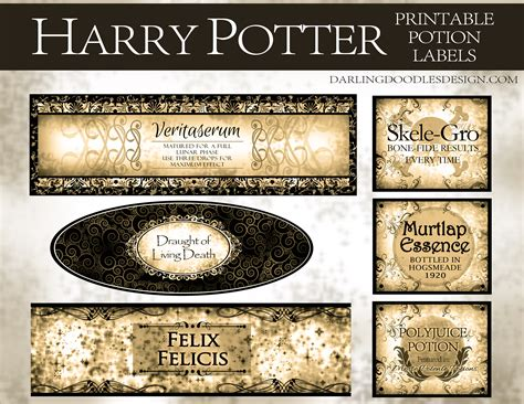 harry potter inspired hogwarts printable name tags printable harry potter potion labels darling doodles