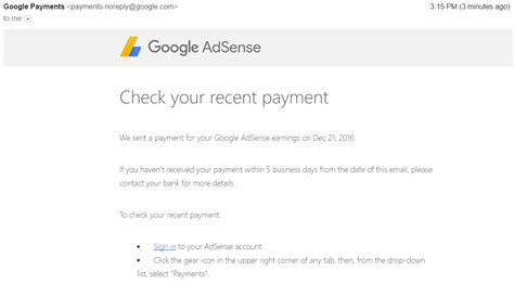 adsense user first just received my first google adsense earnings payment