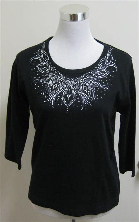 Kemeja Wanita Studs Back Detail Shirt Size M 411637 isaac s designs soft knit top t shirt black rhinestone