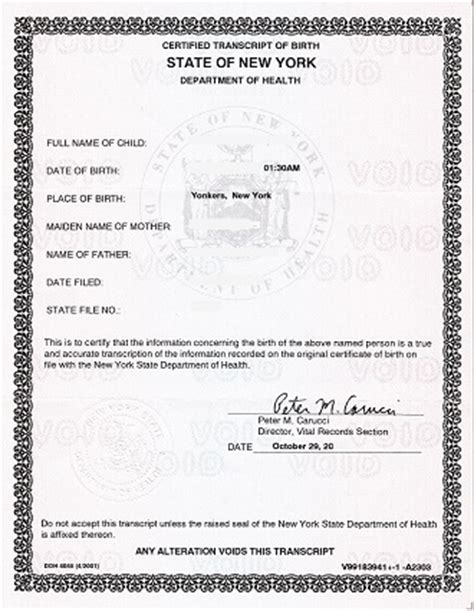 Nyc Vital Records Certificate New York Apostille For Form Birth Certificate