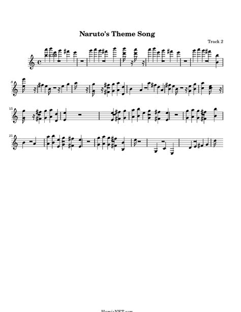 theme music naruto naruto s theme song sheet music naruto s theme song