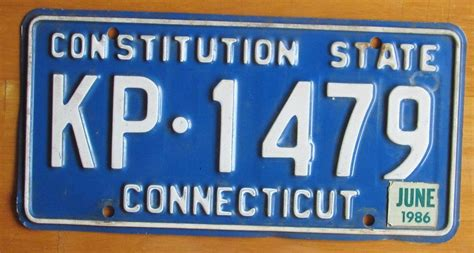 Ct Vanity Plates by Connecticut 1986 License Plate Kp 1479 Ebay