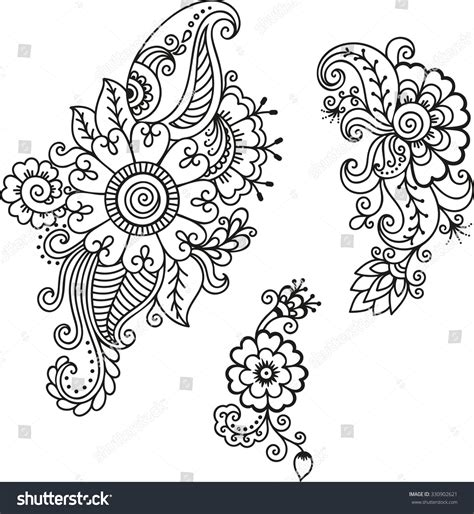 henna design templates henna flower templatemehndi stock vector 330902621