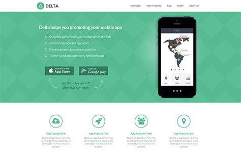 Responsive Bootstrap Theme For Mobile Apps Delta Mobile App Html Template Free