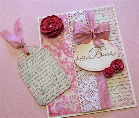 Pink Handmade Cards - birthday card handmade card pink roses fancy
