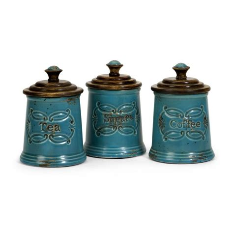kitchen canisters blue filament design lenor 7 5 in blue ceramic canister set of 3 5506 3 the home depot