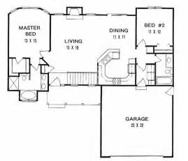 2 Bedroom Ranch Floor Plans first floor plan of ranch house plan 62518