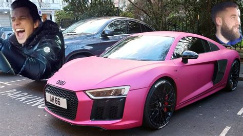 pink audi r8 reaction to my pink audi r8