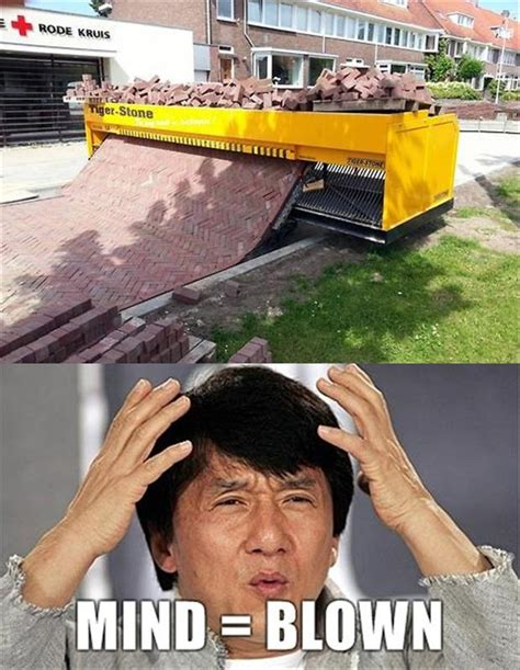Mind Blowing Meme - a mind blown brick laying dump a day