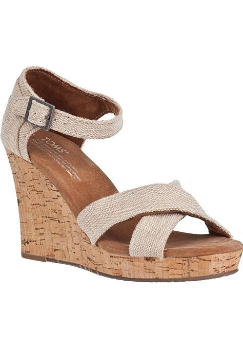 Wedges 2 Strappy toms strappy wedge sandal fabric in brown lyst