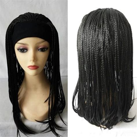 braided headband wigs for black women 2015 fashion black 3 4 wig with headband synthetic