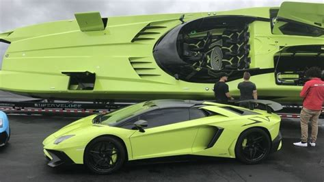 this custom lamborghini aventador sv roadster comes with a matching speedboat but it costs an