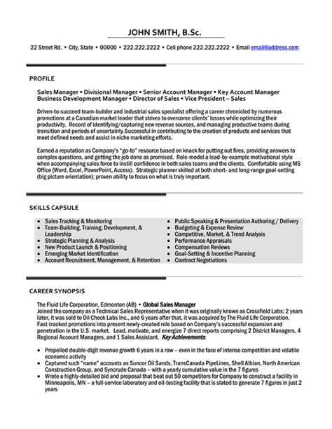 sales manager resume template premium resume sles exle