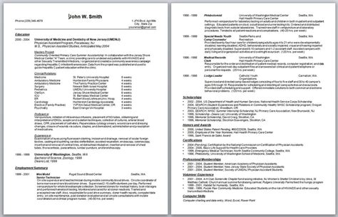 Physician Assistant Resume Templates by Physician Assistant Resume Curriculum Vitae And Cover