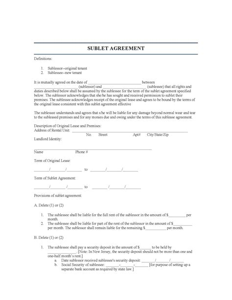 Tenant Eviction Notice New Jersey New Jersey Sublease Agreement Legalforms Org