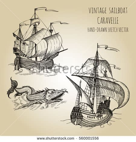 vintage caravelle boats old caravel vintage sailboat hand drawn stock vector