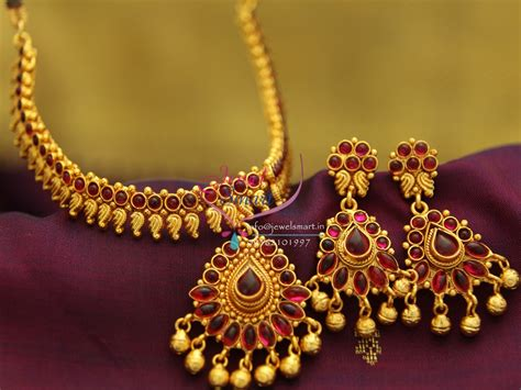 NL1918 Gold Plated Mango Design Red Color Stones
