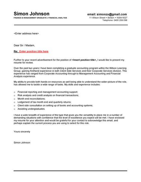 cover letter for fresh graduate finance finance graduate cover letter