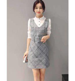 Dress Putih Lengan Panjang Polkadot Hitam Import Korea Fit To L kemeja pita bermotif lengan panjang cantik model terbaru jual murah import kerja