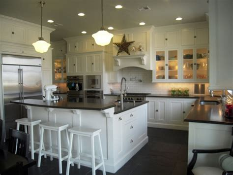White Kitchen Island With Breakfast Bar Source Hgtv Floor To Ceiling White Shaker Kitchen
