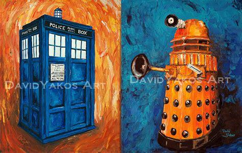 dr who mural daleks tardis wallsorts doctor who tardis and dalek painting art print set 2 by